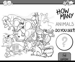 count animals coloring book - stock illustration