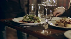 Man eating steak in the restaurant Stock Footage