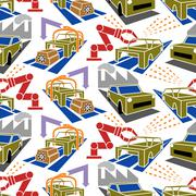 Abstract constructionism seamless pattern automobile production - stock illustration
