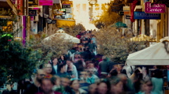 4K 25p Massive crowd of people, weekend shoppers in Athens,Greece,timelapse. Stock Footage
