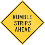 Road sign used in the US state of Texas - Rumble strips ahead - stock illustration