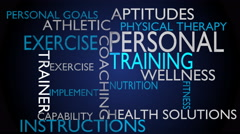 Personal training & instructions word cloud - blue variant Stock Footage
