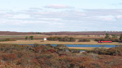 Red Semi Truck Drives Past Cranberry Bog In Moors Of Nantucket Island Stock Footage