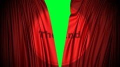 Red curtains close with the end projected on it closing from a green screen. Arkistovideo