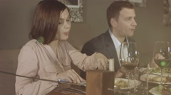 Company celebrates in a restaurant Stock Footage