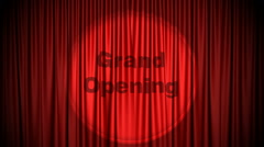 Red Cinema curtain with Grand Opening projected on it opening to green screen. Stock Footage