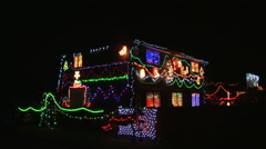Beautiful, richly decorated English house in Christmas Lights Xmas Holidays Stock Footage