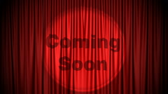 Red Cinema curtain with Coming Soon projected on it opening to green screen. Stock Footage