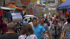 People Walking on the Street in Ciudad del Este, Paraguay Stock Footage