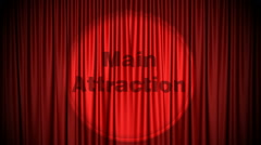 Red Cinema curtain with Main Attraction projected on it opening to green screen. Stock Footage