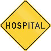 Road sign used in the US state of Texas - Hospital Stock Illustration