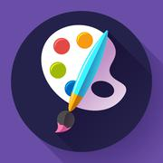 Paint brush with palette icon. Flat design style. Stock Illustration