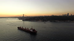 Cargo Ship And Istanbul Bosphorus Bridge Stock Footage