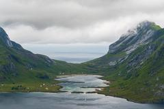 Amazing nature of mountains in Lofoten islands, Norway - stock photo
