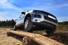 Test-drive of SUV Stock Photos