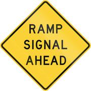 Road sign used in the US state of Texas - Ramp signal ahead Stock Illustration