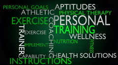 Personal training & instructions word cloud - green variant Stock Footage