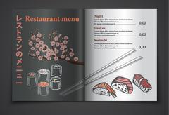 Vector vintage sushi restaurant menu illustration Stock Illustration