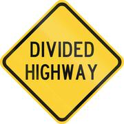 Road sign used in the US state of Texas - Divided highway Stock Illustration