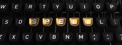 Typewriter with SPELL gold buttons - stock illustration