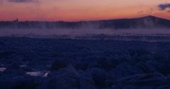 River at dawn, winter steam, orange sky Wide-4 Stock Footage