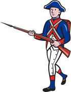 American Revolutionary Soldier Marching Cartoon. - stock illustration