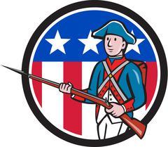 American Revolutionary Soldier USA Flag Circle Cartoon. - stock illustration