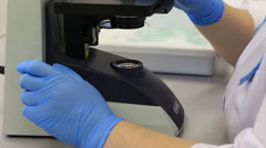 Medical Microscope for clinical laboratory diagnostics and clinical morphology - stock footage