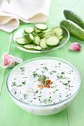 Spring soup with yoghurt Stock Photos