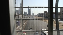 Dubai trafic seen from an elevated walkway Stock Footage