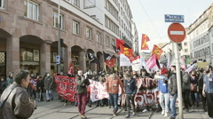 France protest against proposed labor reforms by Socialist Government - stock footage