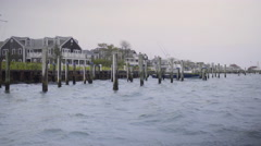 Static Shot Of Stormy Sea In Nantucket Island's Harbor Stock Footage
