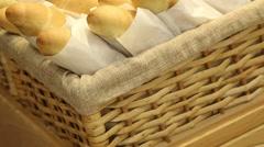 Fresh bread in a basket Stock Footage