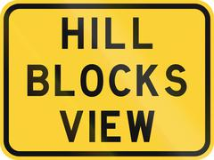 Road sign used in the US state of Texas - Hill blocks view - stock illustration