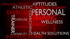 Personal training & instructions word cloud - red variant Stock Footage