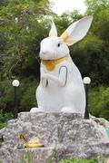 Giant white rabbit statue Stock Photos