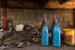 Oily burets in workshop Stock Photos