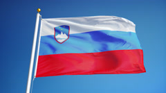 Slovenia flag in slow motion seamlessly looped with alpha Stock Footage