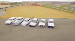 Six Retro Vehicles Standing In Line At Exhibition Outdoors Stock Footage