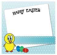 Funny Easter chicken card design. Stock Illustration