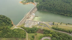 Aerial View of Central American Dam and Roadway Stock Footage
