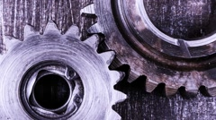 Timelapse of gears rotation on a metal background Stock Footage