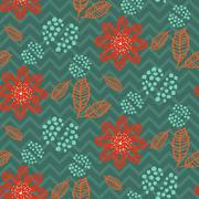 Leaves branches floral seamless pattern - stock illustration