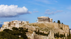 Stock Video Footage of HD 25p Acropolis rock wide view timelapse locked down