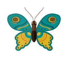 Colored cartoon butterfly vector isolated on white background - stock illustration