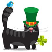 Black cat with green hat. Congratulations to the St. Patrick's Day. - stock illustration