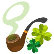 Pipe with four-leaf clover. - stock illustration