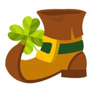 Leprechaun shoe and four-leaf clover. - stock illustration