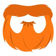 Red beard and mustache in a cartoon style. - stock illustration
