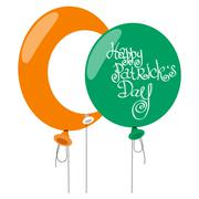 Three balloons in the colors of the Irish flag. Congratulations to the St. Pa - stock illustration